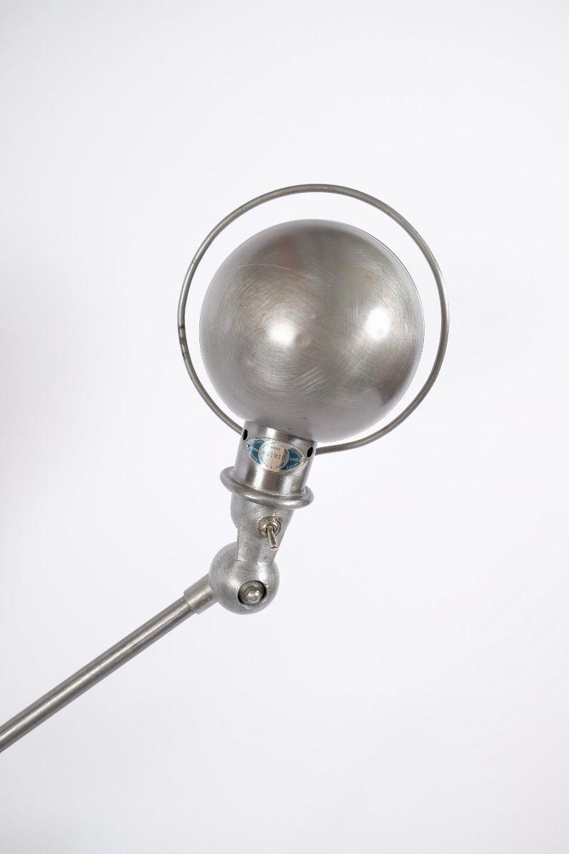 Vintage Jieldé 5 Arms Gulvlampe Børstet Stål Finish Jean Louis Domecq Fransk Industrilampe #9948