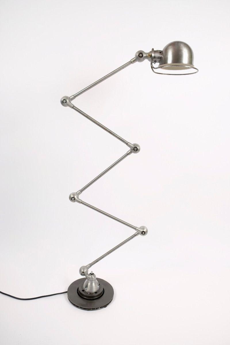 Vintage Jieldé 5 Arms Gulvlampe Børstet Stål Finish Jean Louis Domecq Fransk Industrilampe #9947