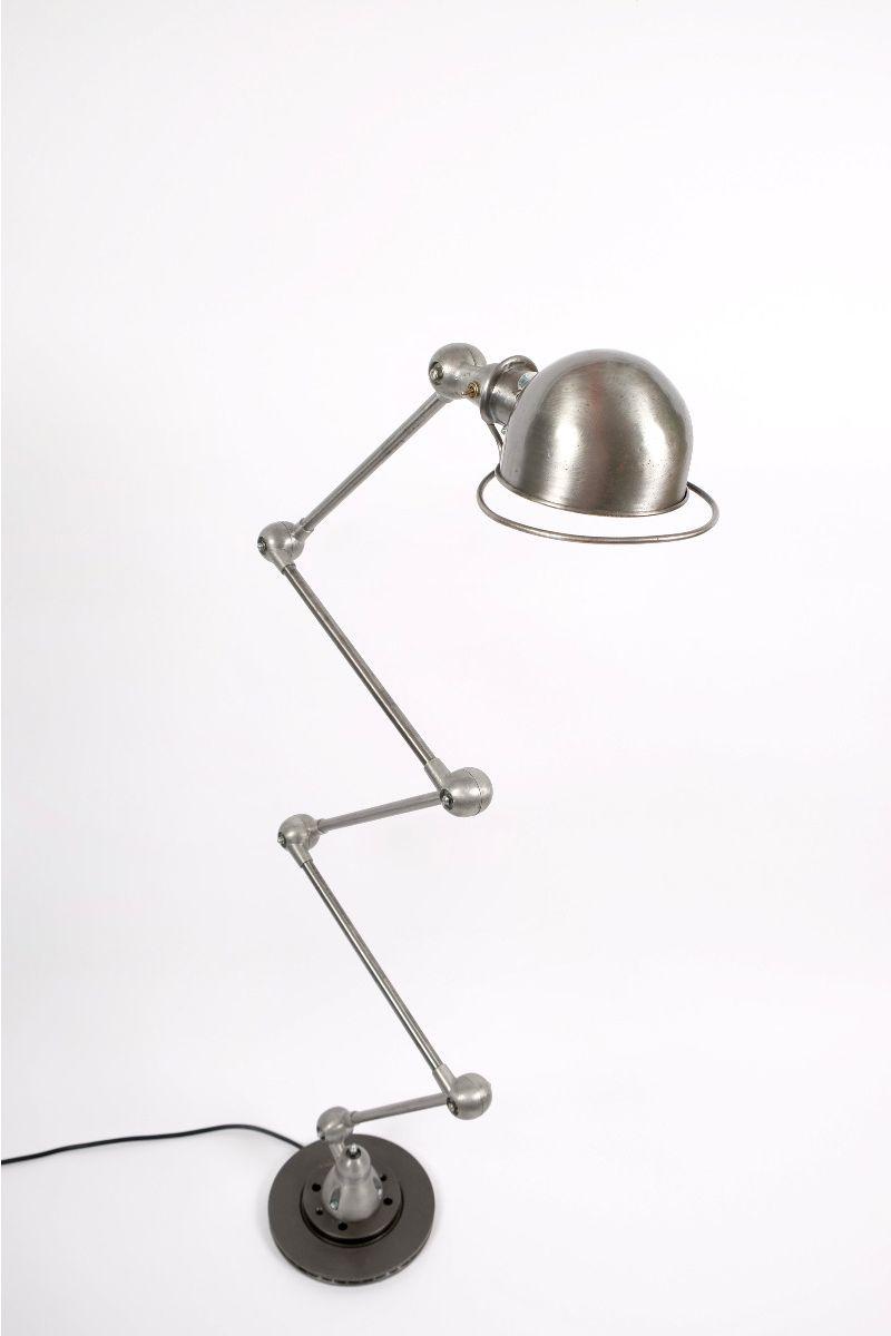 Vintage Jieldé 5 Arms Gulvlampe Børstet Stål Finish Jean Louis Domecq Fransk Industrilampe #9797