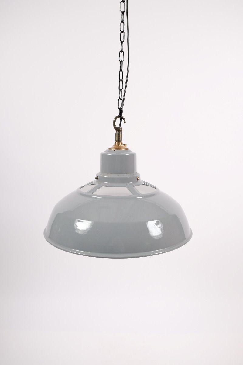 Engelsk Vintage Industripendel Med Blå/Grå Emalje Ø46 (pris pr. stk.) #9123