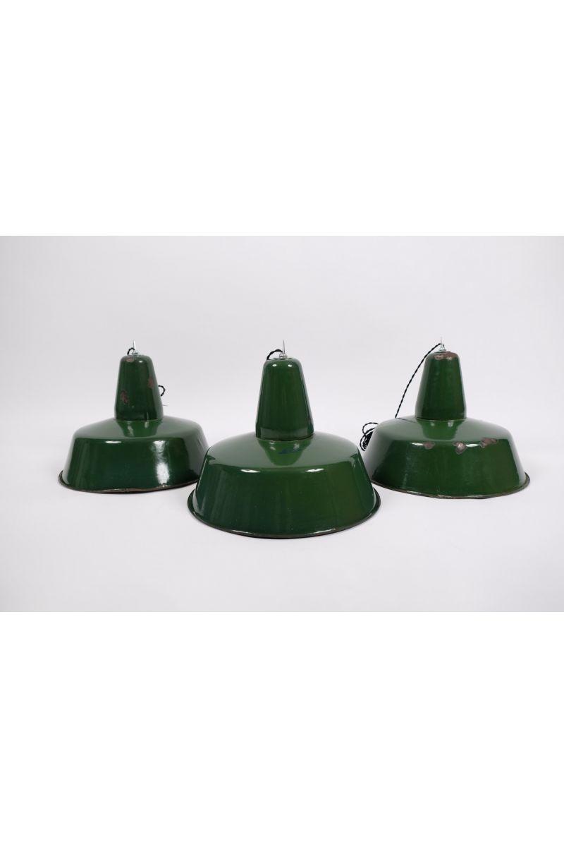 Fransk Vintage Industripendel Med Grøn Emalje Ø40 (pris pr. stk.) #9510