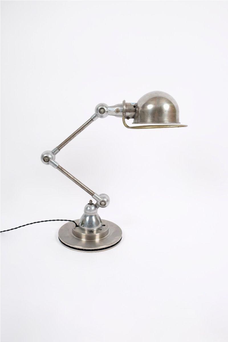 Fransk Vintage Jieldé Bordlampe Med 2 Stk. 25 cm. Arm i Rå Finish #10092