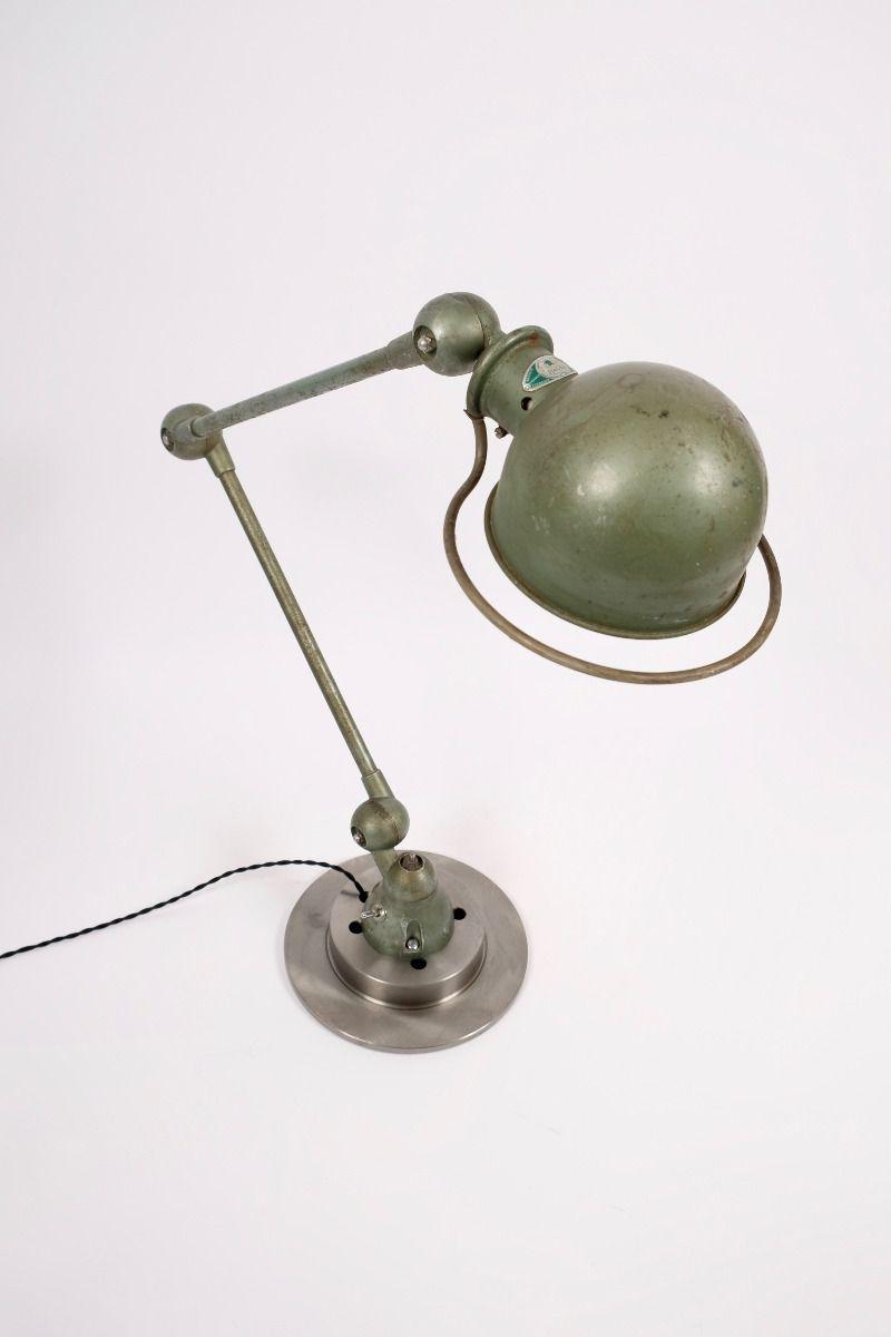 Fransk Vintage Jieldé Bordlampe Med 2 Stk. 45 cm Arm i Original Vespagrøn #8849