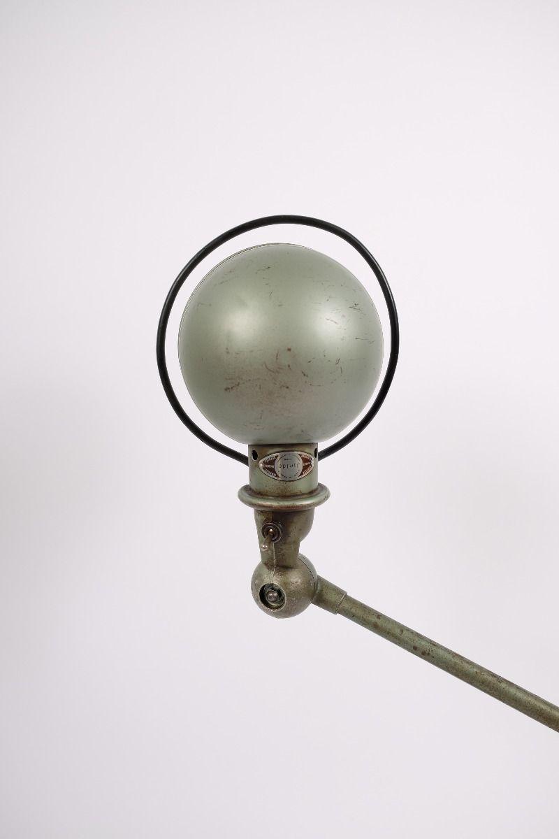 Fransk Vintage Jieldé Bordlampe Med 2 Stk. 45 cm Arm i Original Vespagrøn #8767