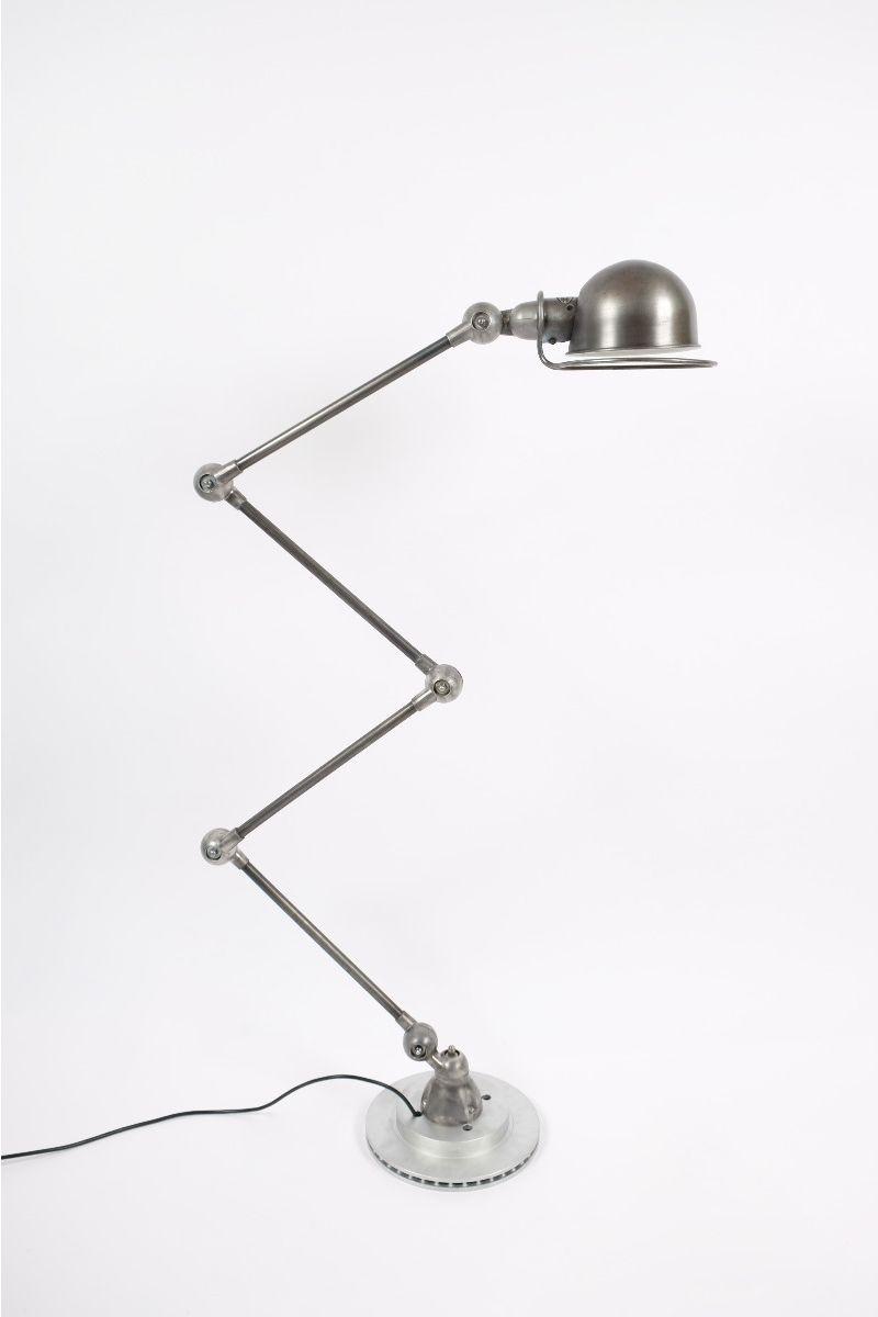 Vintage Jieldé 4 Arms Gulvlampe Dark Steel Finish Jean Louis Domecq Fransk Industrilampe #9637