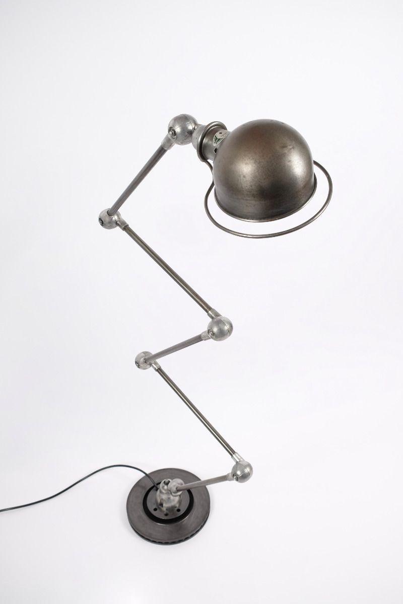 Vintage Jieldé 5 Arms Gulvlampe Dark Steel Finish Jean Louis Domecq Fransk Industrilampe #9779