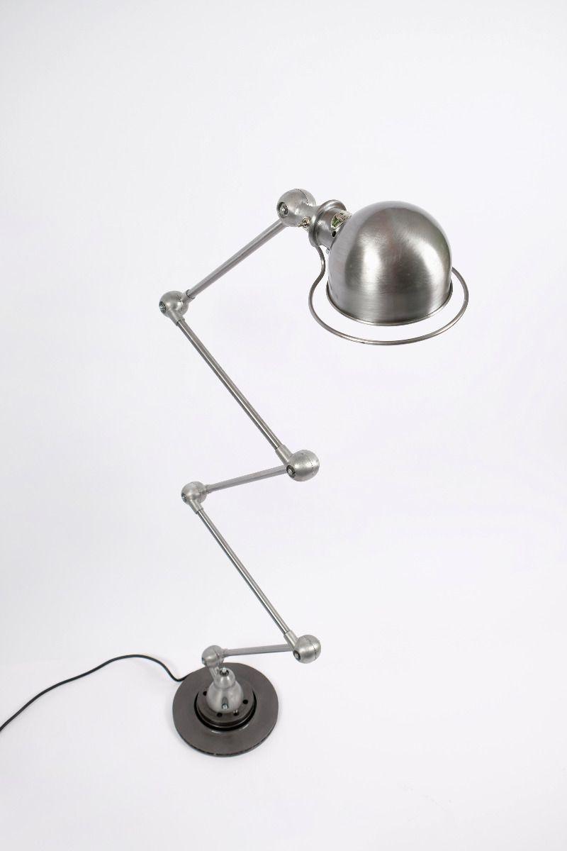 Vintage Jieldé 5 Arms Gulvlampe Børstet Stål Finish Jean Louis Domecq Fransk Industrilampe #9798