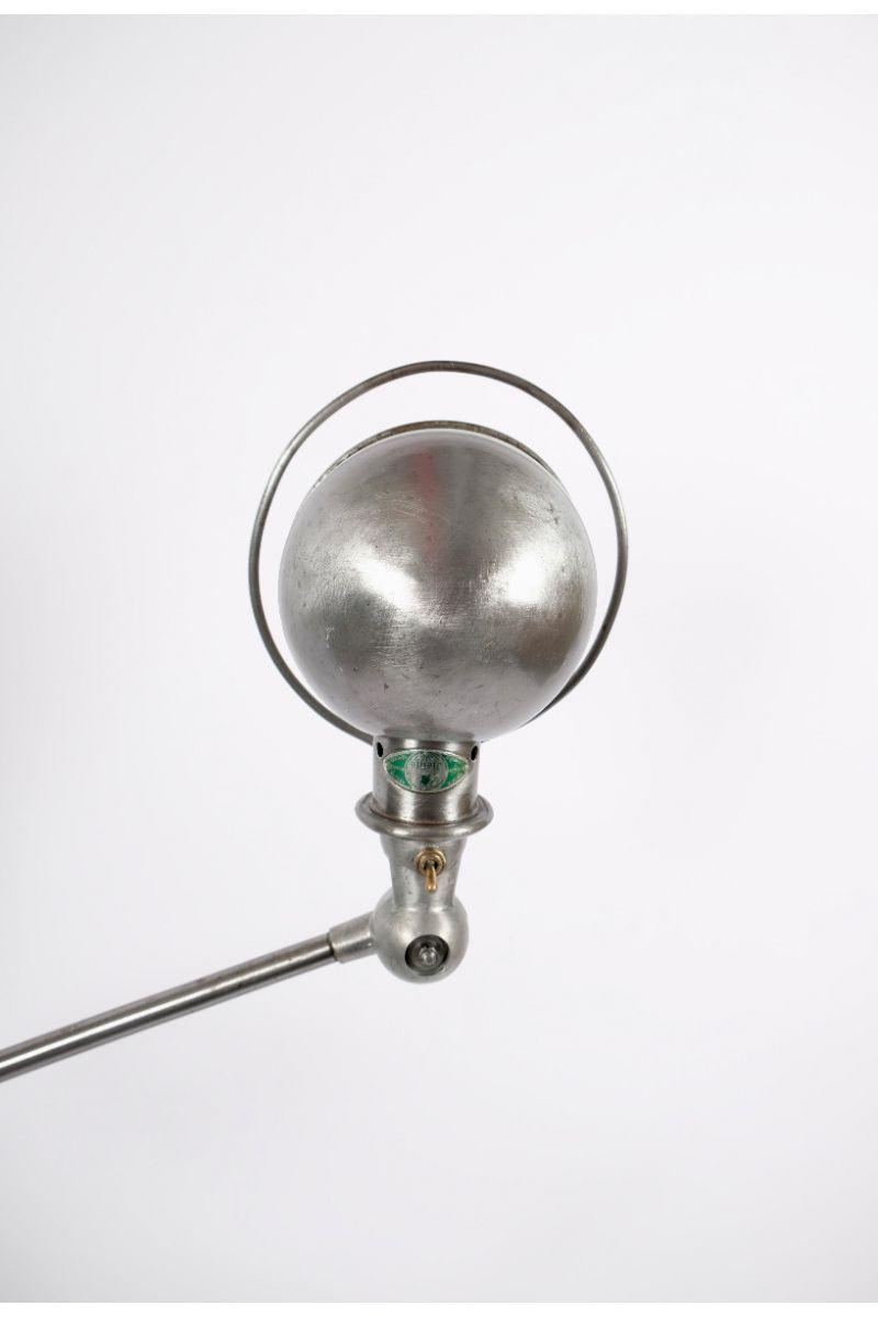 Vintage Jieldé 5 Arms Gulvlampe Børstet Stål Finish Jean Louis Domecq Fransk Industrilampe #10084