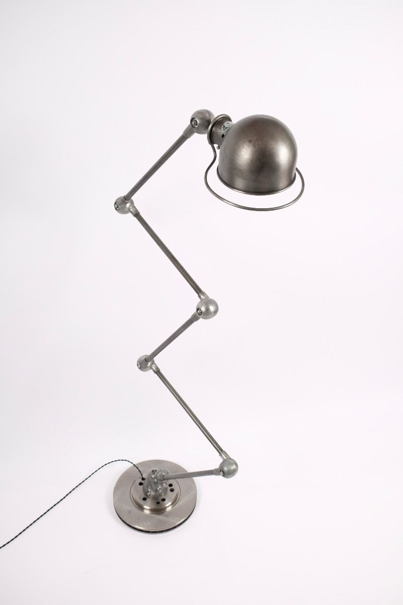 Vintage Jieldé 5 Arms Gulvlampe Dark Steel Finish Jean Louis Domecq Fransk Industri Lampe #9321