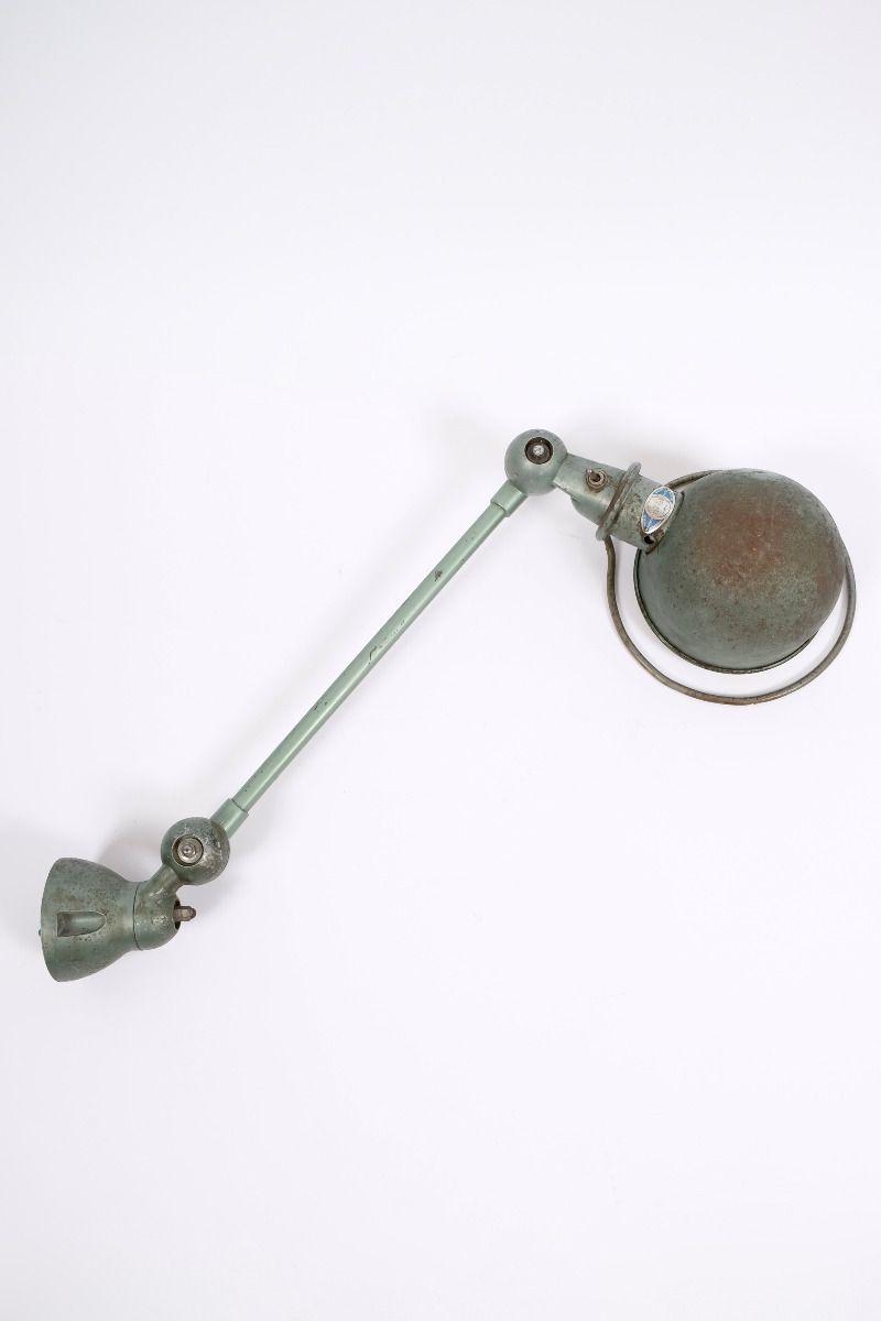 Fransk Vintage Jieldé Væglampe i Vespagrøn 1 Arm á 45 cm #9906