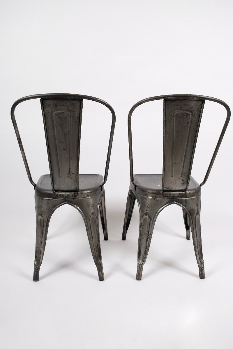Franske Vintage Tolix Stole Mørk Stålfinish (pris pr. stk., 2 stk. haves) #8323