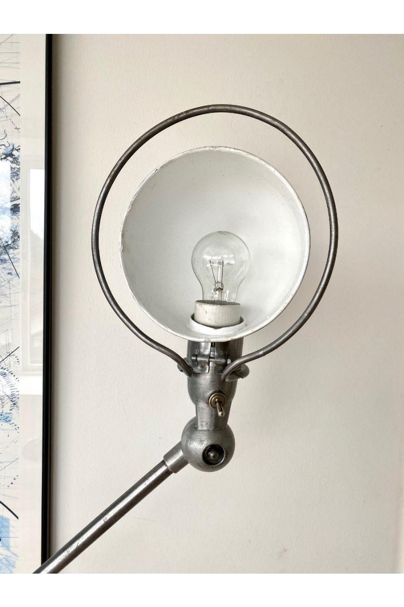Vintage Jieldé 5 Arms Gulvlampe Børstet Stål Finish Jean Louis Domecq Fransk Industri Lampe #9394